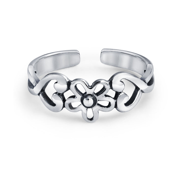 Flowers Heart Carved Filigree Midi Band Ring Silver Sterling Mid Finger