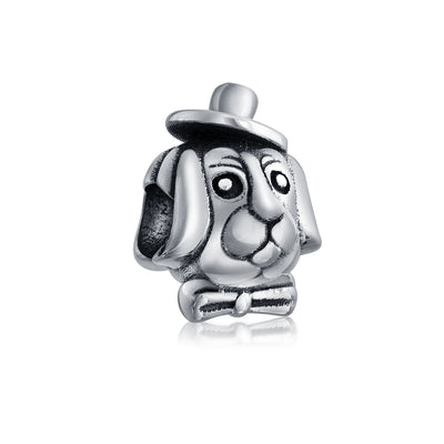 Top Dog Hat Puppy Animal Lover Bead Charm 925 Sterling Silver