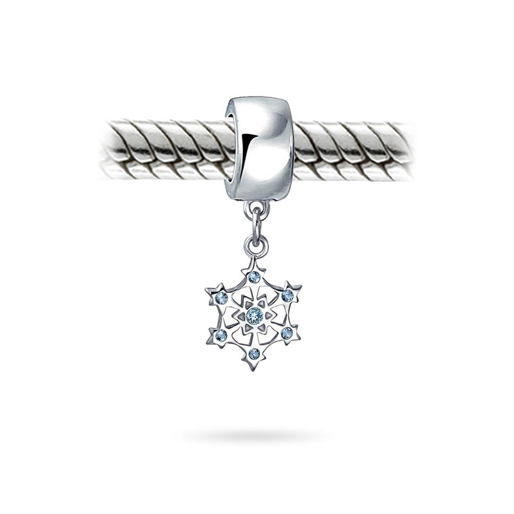 Winter Christmas CZ Blue Snowflake Bead Charm 925 Sterling Silver