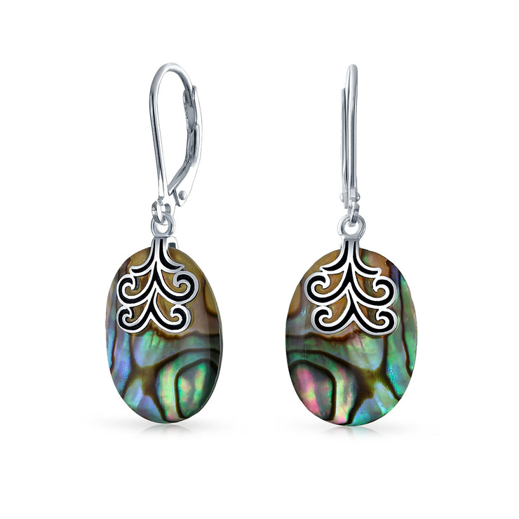 Oval Abalone Filigree Swirl Leverback Dangle Earrings Sterling Silver