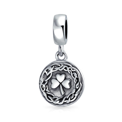 Celtic Knot Leaf Clover Shamrock Dangle Bead Charm Sterling Silver