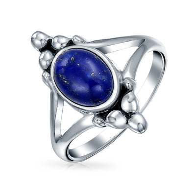 Oval Blue Lapis Lazuli Gemstone Ring Shank Band 925 Sterling Silver
