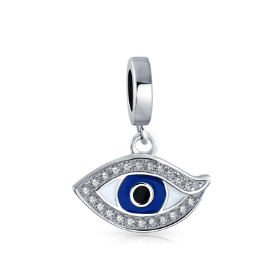 Crystal Blue Evil Eye Protection Dangle Charm Bead 925 Sterling Silver