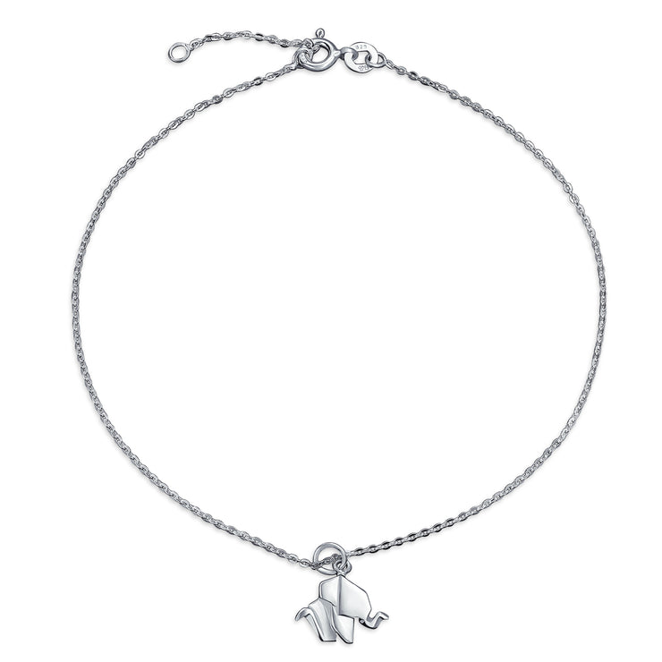 Origami Elephant Anklet Dangle Charm Ankle Bracelet Sterling Silver
