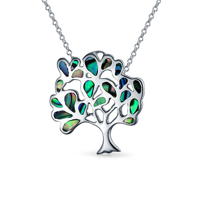 Family Tree Life Celtic Pendant Abalone Tree Necklace Sterling Silver