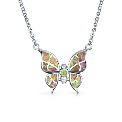 Butterfly Pink Created Opal Pendant 925 Sterling Silver Necklace