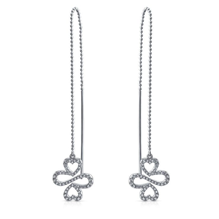 Ayllu Symbol Heart Infinity Clover Pave CZ Chain Threader Earrings