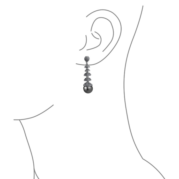 Black Imitation Crystal Statement Chandelier Earring Gunmetal Plated