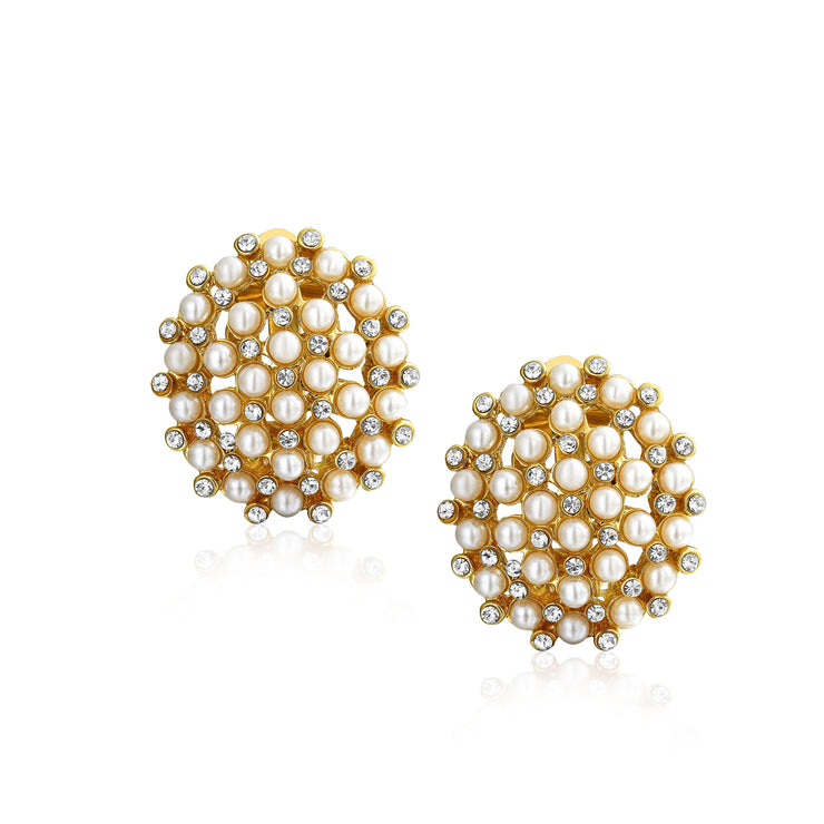 Round White Caviar Imitation Crystal Clip On Imitation Pearl Earrings