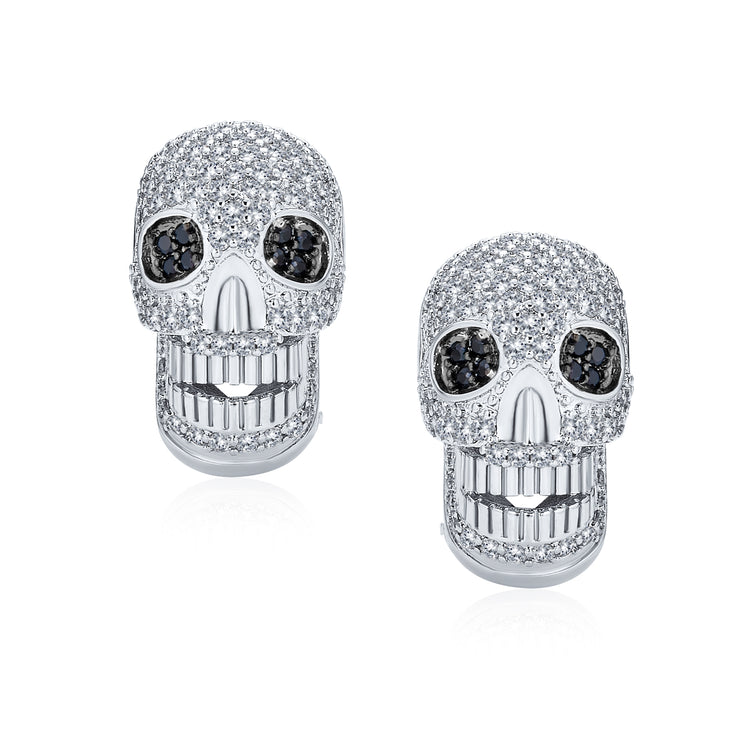 Caribbean Pirate Skull CZ Stud Omega Back Stud Earrings Silver Plated