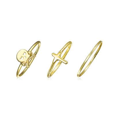 Skull Crossbone Cross 14K Gold Plated Sterling Midi Ring Band Set