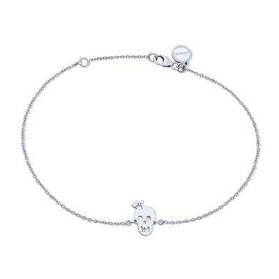 Smiling Heart Eyes Charms Crown Skull Anklet 925 Sterling Silver