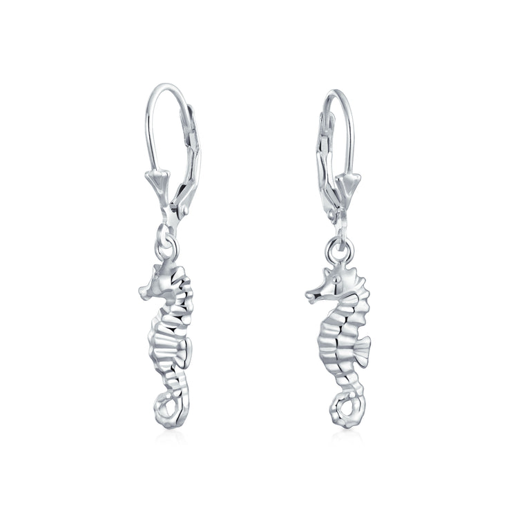 Nautical Beach Seahorse Leverback Dangle Earrings 925 Sterling Silver