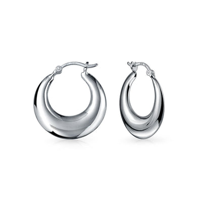 Crescent Tapered Tube Hoop Earrings 925 Sterling Silver 1 Inch