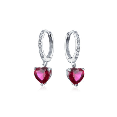 Fuchsia CZ Pink Heart Hoop Earrings Imitation Ruby 925 Sterling Silver