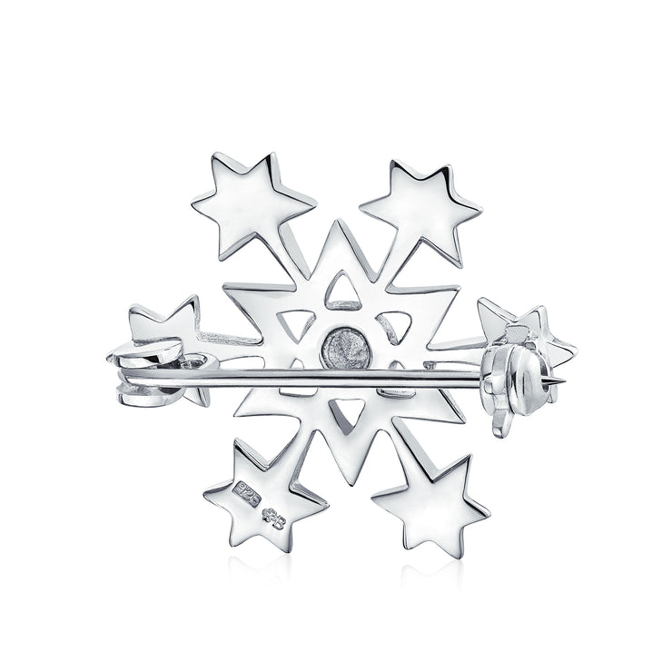 Winter Holiday CZ Cubic Zirconia Blue Snowflake Brooch Christmas Pin