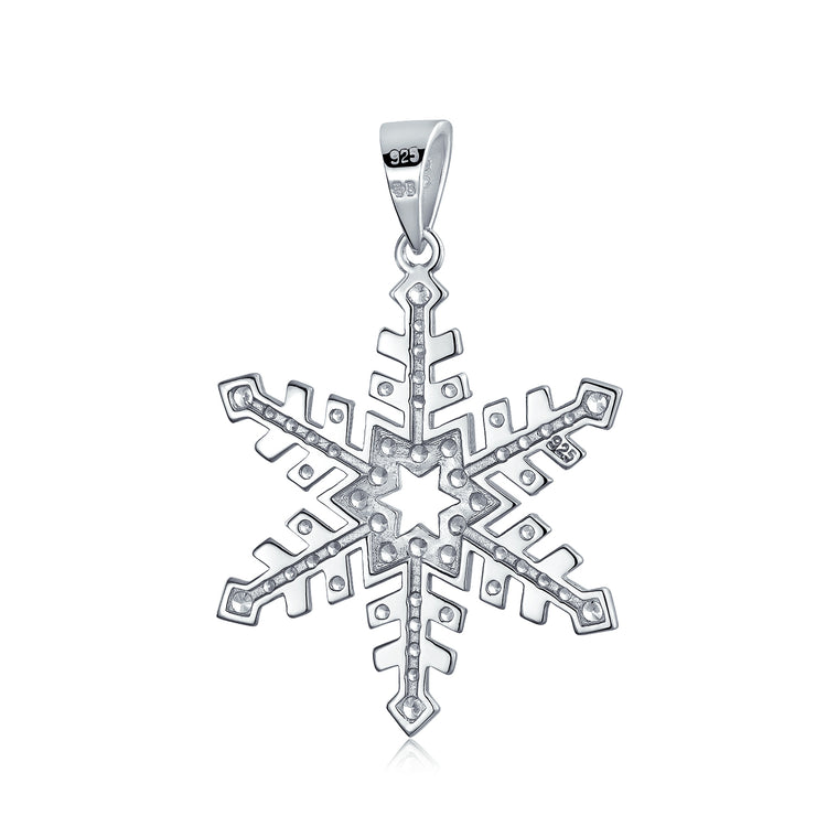 Branch Snowflake Cubic Zirconia CZ Pendant Necklace Sterling Silver