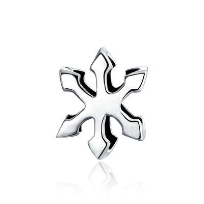 Holiday Winter Snowflake Shape Charm Bead 925 Sterling Silver