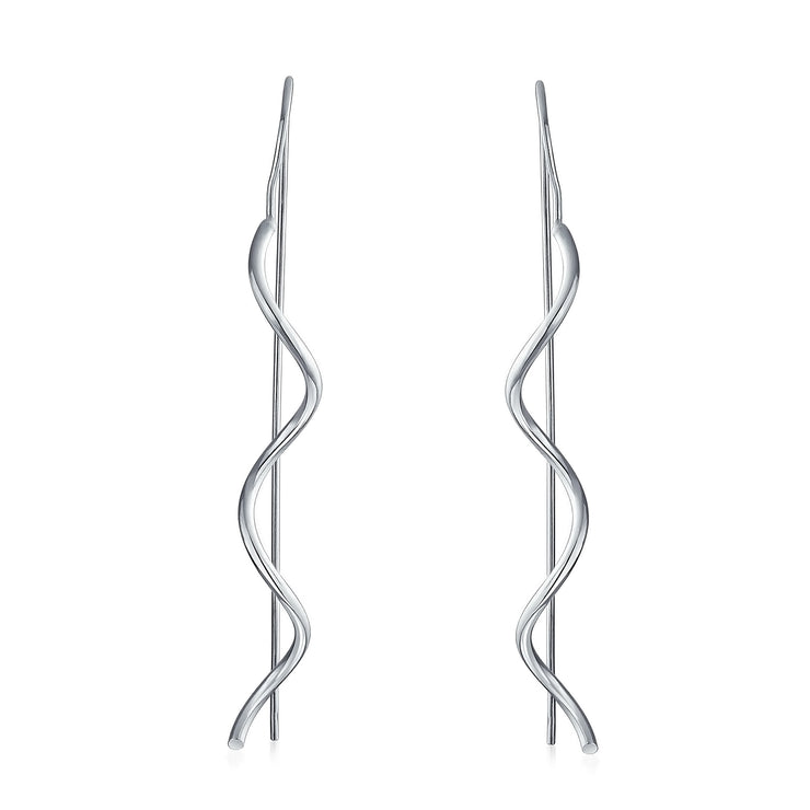 Wavy Zig Zag Thin Wire Dangle Threader Earrings 925 Sterling Silver