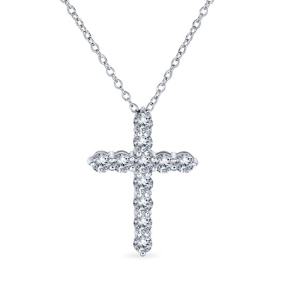 Cross Communion Pendant Pave CZ Cubic Zirconia Sterling Silver .87 In