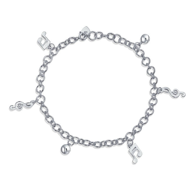 Music Notes Music Lover Anklet Dangle Charm Ankle Bracelet 925 Silver