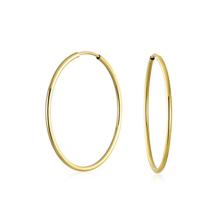 Round Endless Tube 10K Yellow Gold Filled Hoop Earrings 1 Inch