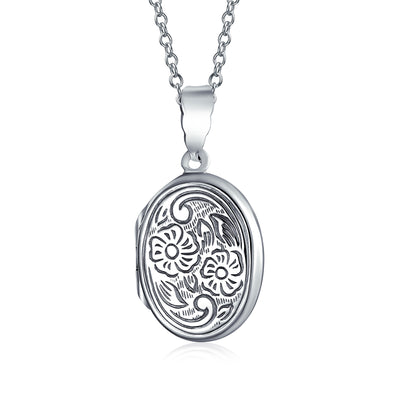 Flower Photo Oval Locket For Women Hold Pictures Sterling Necklace