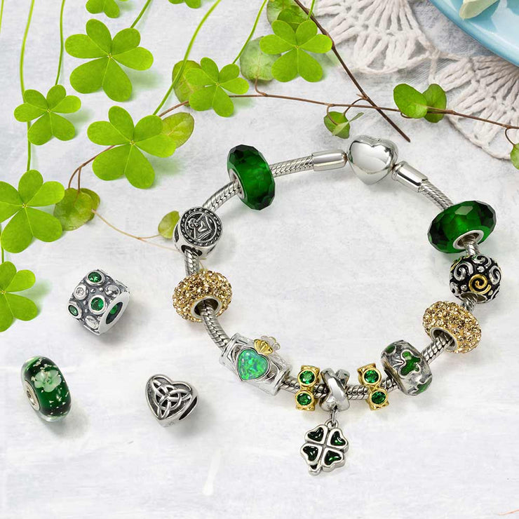 Celtic Leaf Clover Green Shamrock Dangle Bead Charm Sterling Silver