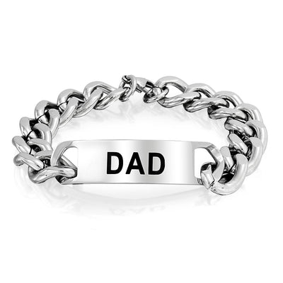 Dad Daddy Name Plated Curb Chain ID Bracelet Father Stainless Steel