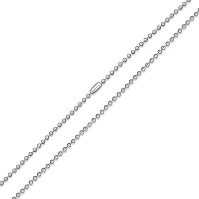 Shot Beaded Ball Chain Link 3MM Necklace Silver Tone Stainless Steel