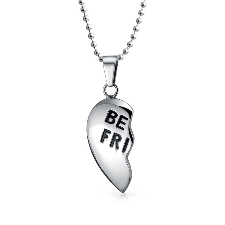 Best Friend Split Broken Heart Break Apart Stainless Steel Necklace