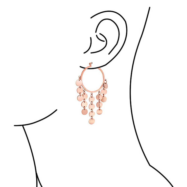 Sequin Coin Chandelier Hoop Earrings Rose Gold Tone Stainless Steel