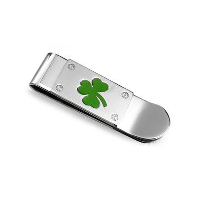 Clover Green Shamrock Money Clip Credit Card Holder Stainless Steel