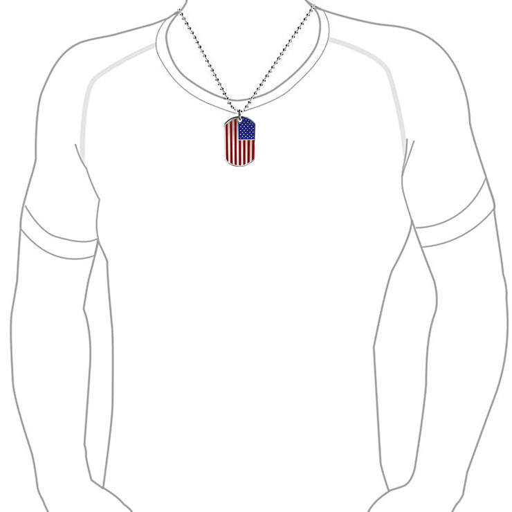 Patriotic USA American Dog Tag Pendant Necklace Stars Stripes Red Blue