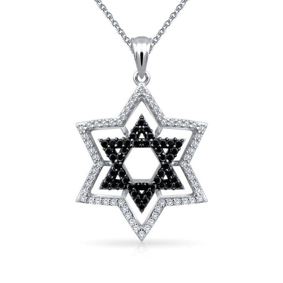 Black Star David Magen Jewish CZ Pendant Necklace 925 Sterling Silver