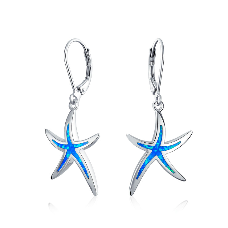 Blue Created Opal Starfish Drop Leverback Earrings Sterling Silver