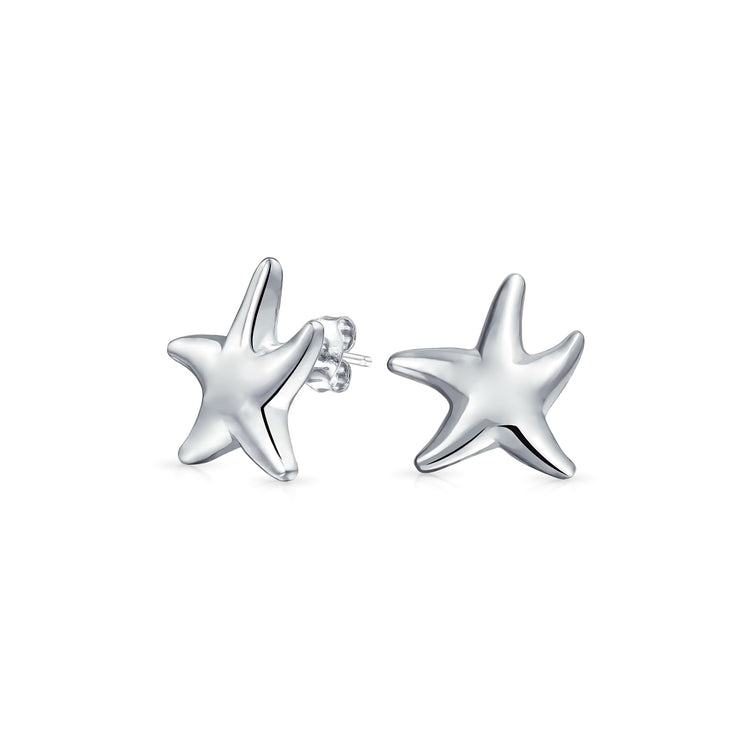 Nautical Sea Beach Small Starfish Stud Earrings 925 Sterling Silver
