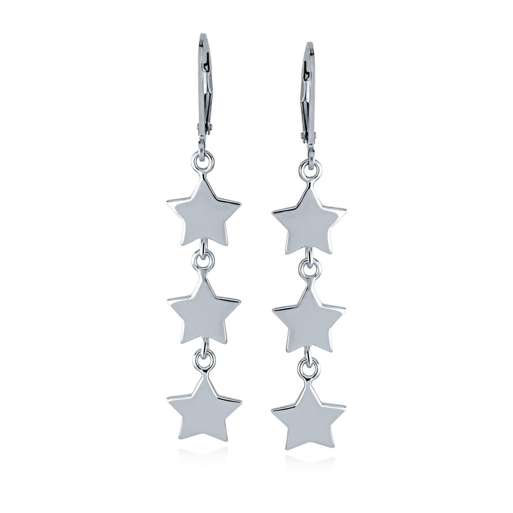 Celestial USA Patriotic Rock Star Dangle Stud Earrings Sterling Silver