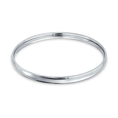 Domed Stackable 5MM Round Smooth Polished Bangle Bracelet Silver Tone