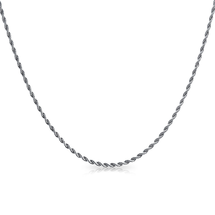 Rope Link Chain 2 5 MM 040 Gauge Necklace Silver Tone Stainless Steel