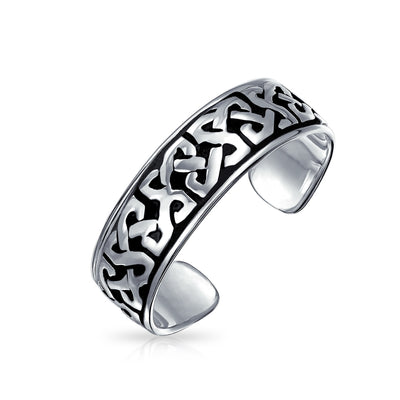 Celtic Trinity Knot Work Oxidized Midi Band Toe Ring Silver Sterling