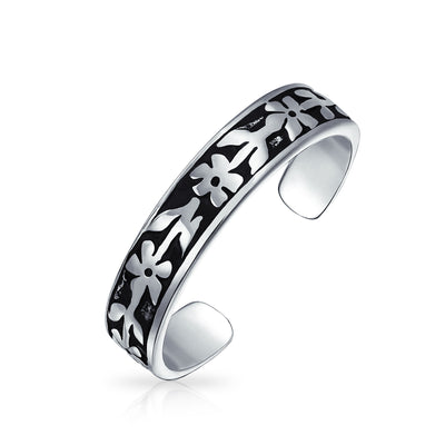 Flowers Vine Leaf Oxidized Midi Band Toe Ring For Women 925 Silver