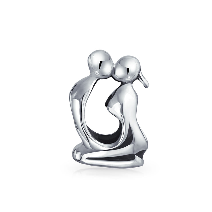 Couples Kissing Lovers Sculpture Charm Bead .925 Sterling Silver