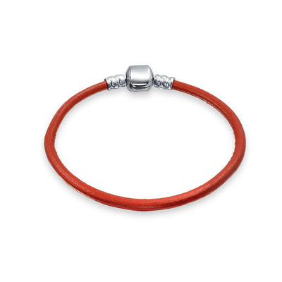 Red Genuine Leather Starter Charm Beads Bracelet 925 Sterling Silver