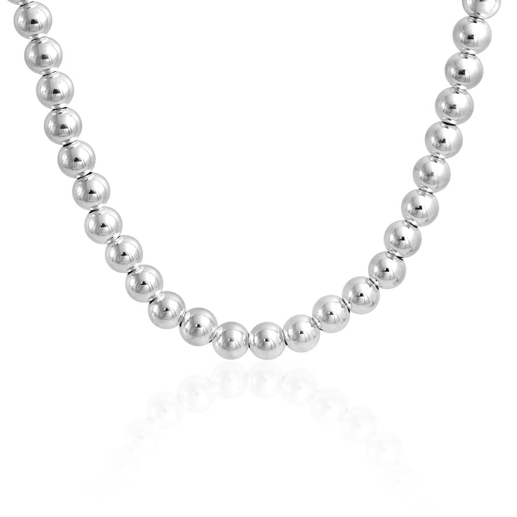 Round Ball Bead Strand Necklace High 925 Sterling Silver 16 In 18 In