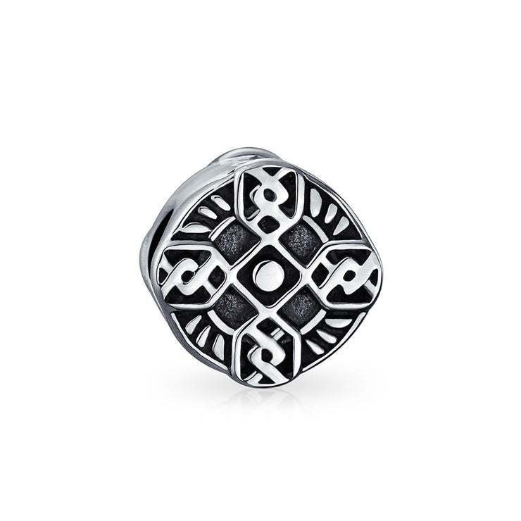 Religious Celtic Irish Trinity Cross Charm Bead 925 Sterling Silver