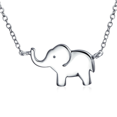 Elephant Zoo Animal Pendant 925 Sterling Silver Station Necklace