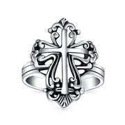 Christian Religious Fleur De Lis Cross Ring Oxidized Sterling Silver