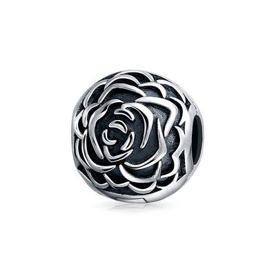Rose Bloom Floral Barrel Spacer Stopper Clasp Bead Charm 925 Silver