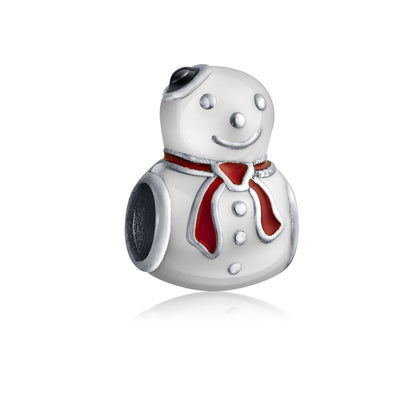 White Holiday Snowman Christmas Winter Charm Bead 925 Sterling Silver